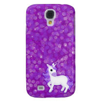 Pretty Purple Fantasy Unicorn and Glitter Pattern Samsung Galaxy S4 Case