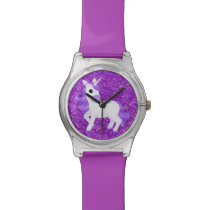 Pretty Purple Fantasy Unicorn and Glitter Pattern Watch