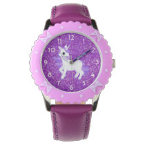 Pretty Purple Fantasy Unicorn and Glitter Pattern Wrist Watch