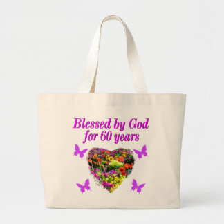 PRETTY PURPLE FLORAL 60TH BIRTHDAY DESIGN LARGE TOTE BAG