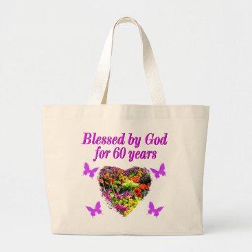 birthday PRETTY PURPLE FLORAL 60TH BIRTHDAY DESIGN LARGE TOTE BAG