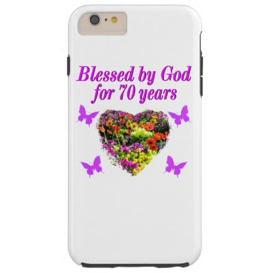 PRETTY PURPLE FLORAL 70TH BIRTHDAY DESIGN TOUGH iPhone 6 PLUS CASE