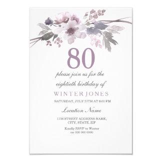 Pretty Purple Floral 80th Birthday Party Invite