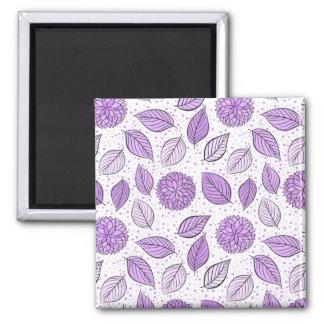 Pretty Purple Floral Pattern 2 Inch Square Magnet