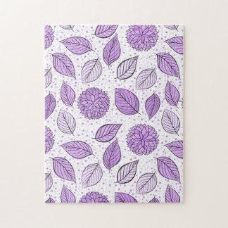 Pretty Purple Floral Pattern Jigsaw Puzzle