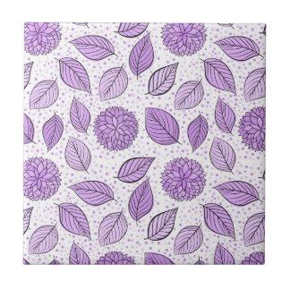 Pretty Purple Floral Pattern Small Square Tile