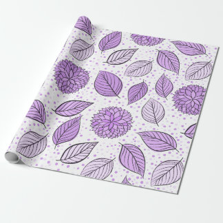 Pretty Purple Floral Pattern Wrapping Paper