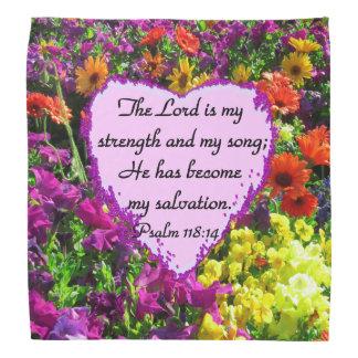 PRETTY PURPLE FLORAL PSALM 118:14 PHOTO BANDANA