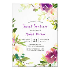 Pretty Purple Floral Sweet 16 Invitation