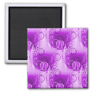 Pretty Purple Floral Vine Pattern Magnet