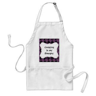 Pretty Purple Flower Art on Black Floral Pattern Adult Apron
