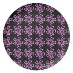Pretty Purple Flower Art on Black Floral Pattern Dinner Plates