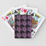 Pretty Purple Flower Art on Black Floral Pattern Bicycle Card Deck