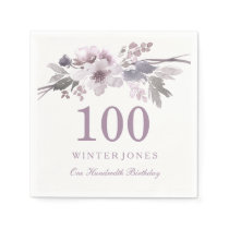 Pretty Purple Flower Floral 100th Birthday Party Paper Napkin