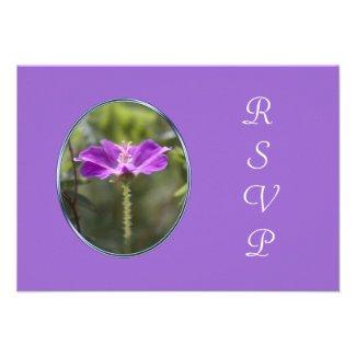 Pretty purple flower RSVP cards for wedding