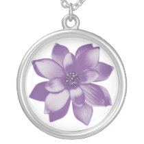 pretty purple flower silver plated necklace