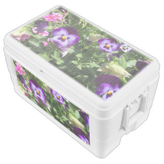 pretty purple flowers chest cooler
