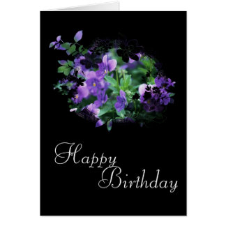 Pretty Purple Flowers Happy Birthday Card Design 1