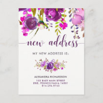 Pretty Purple Flowers | New Address Announcement Postcard
