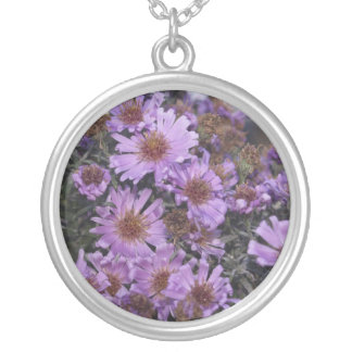 Pretty Purple Flowers Silver Plated Necklace