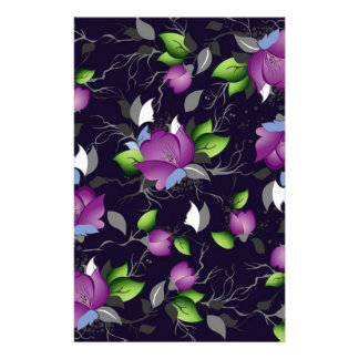 Pretty Purple Flowers Stationery Design