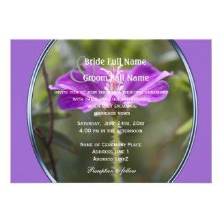 Pretty purple garden flower wedding invitations.