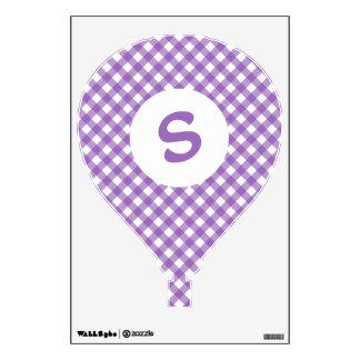 Pretty Purple Gingham Monogram Wall Sticker
