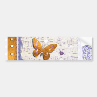 Pretty Purple & Gold butterflies & music collage Bumper Sticker