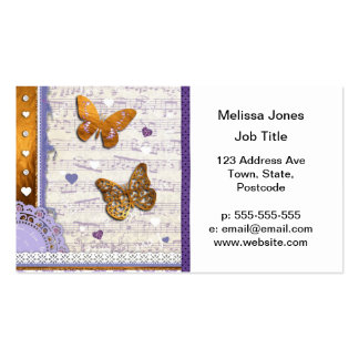 Pretty Purple Gold butterflies music collage Business Cards