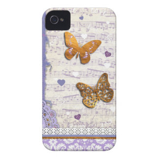 Pretty Purple & Gold butterflies & music collage Case-Mate iPhone 4 Case