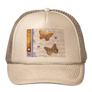 Pretty Purple & Gold butterflies & music collage Mesh Hats