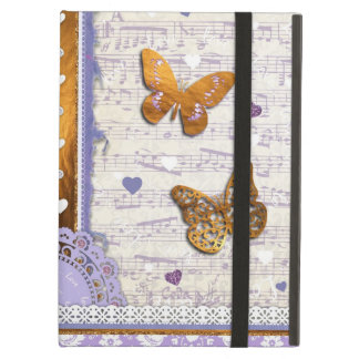 Pretty Purple & Gold butterflies & music collage iPad Air Covers