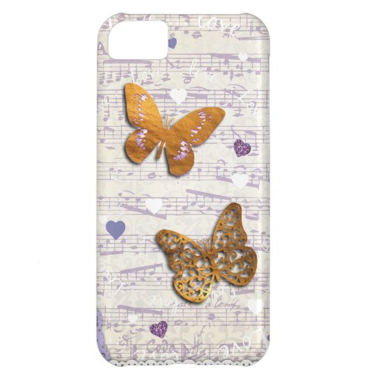 Pretty Purple & Gold butterflies & music collage iPhone 5C Case