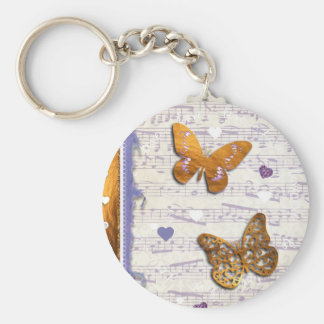 Pretty Purple & Gold butterflies & music collage Key Chains