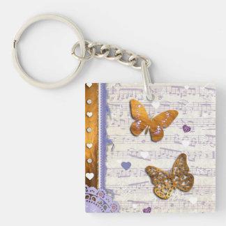 Pretty Purple & Gold butterflies & music collage Acrylic Keychain