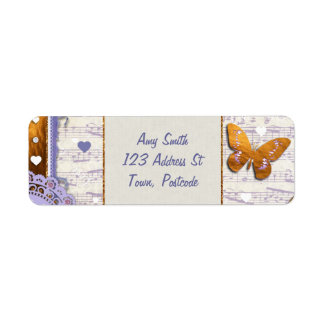 Pretty Purple & Gold butterflies & music collage Return Address Label
