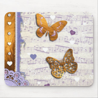 Pretty Purple & Gold butterflies & music collage Mouse Pad