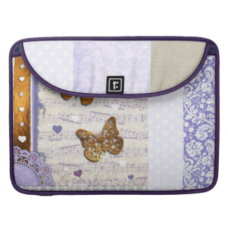 Pretty Purple & Gold butterflies & music collage Sleeve For MacBooks
