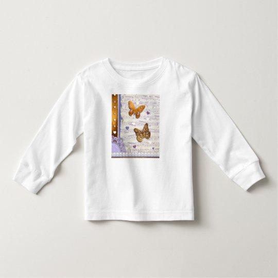 Pretty Purple & Gold butterflies & music collage Toddler T-shirt