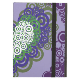 Pretty Purple Green Hearts and Circles Pattern iPad Cover