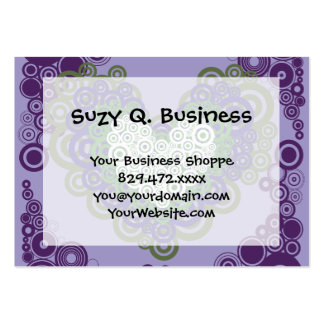 Pretty Purple Green Hearts and Circles Pattern Large Business Card