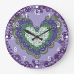 Pretty Purple Green Hearts and Circles Pattern Large Clock