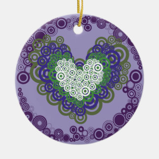 Pretty Purple Green Hearts and Circles Pattern Double-Sided Ceramic Round Christmas Ornament