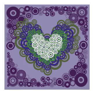 Pretty Purple Green Hearts and Circles Pattern Poster