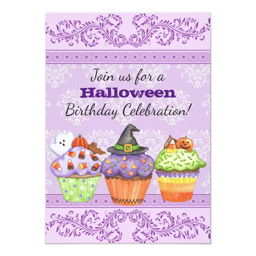Pretty Purple Halloween Cupcakes Birthday Invite