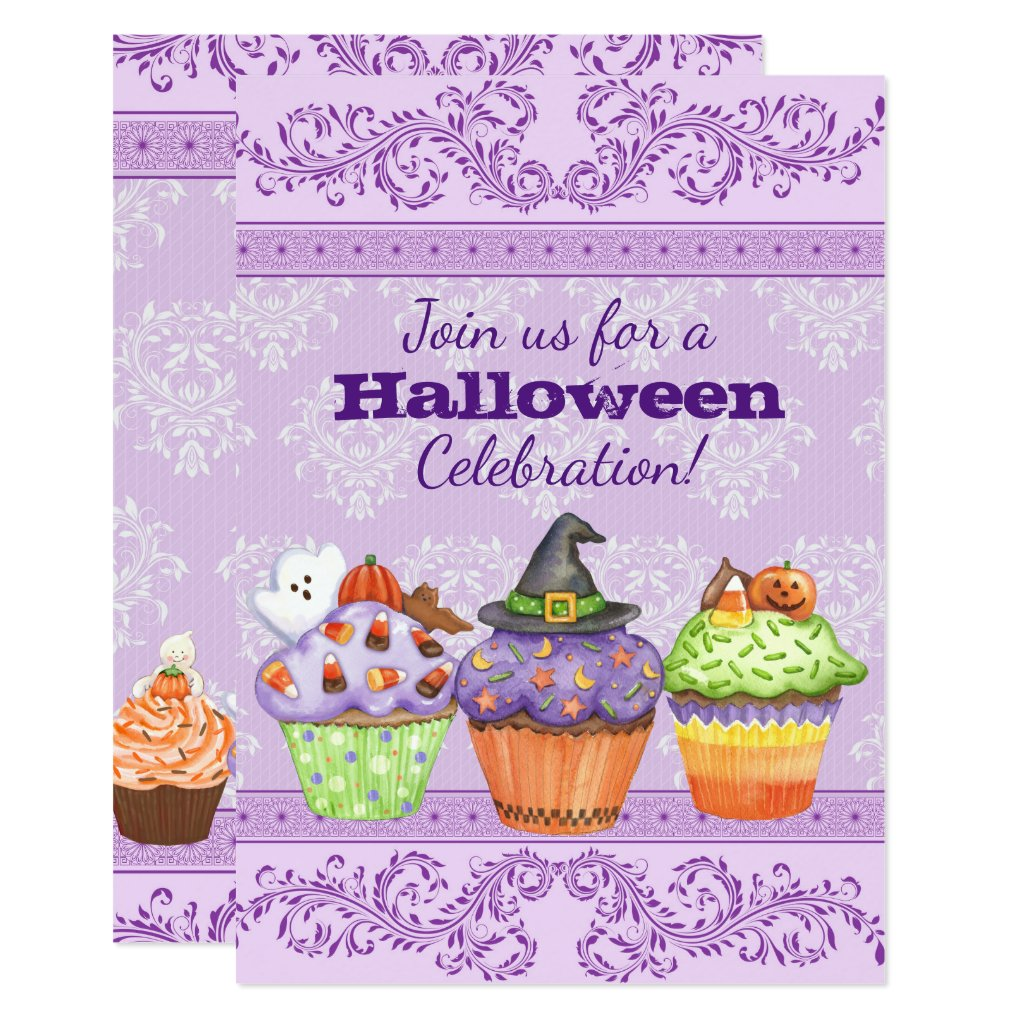 Pretty Purple Halloween Cupcakes Party Invitation