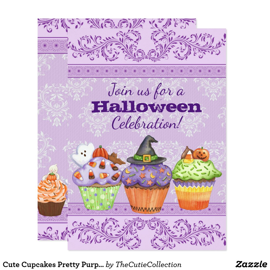 Pretty Purple Halloween Cupcakes Party Invitation