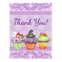Pretty Purple Halloween Cupcakes Thank You Postcard