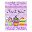 Pretty Purple Halloween Cupcakes Thank You Postcard