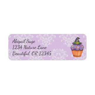 Pretty Purple Halloween Witches Hat Cupcake Damask Label